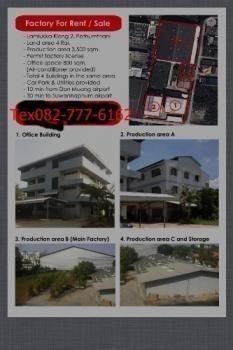 For Sale or Rent Warehouse 4 rai in Lam Luk Ka, Pathum Thani, Thailand | Ref. TH-XZLNWMZS