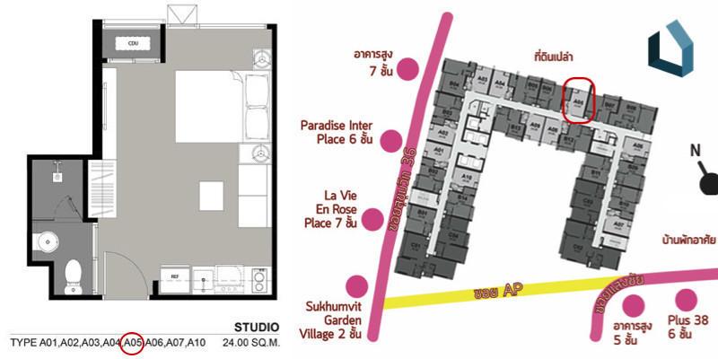 Rhythm Sukhumvit 36 - 38 - В аренду: Кондо 24 кв.м. возле станции BTS Thong Lo, Bangkok, Таиланд   Ref. TH-BOBCSORK