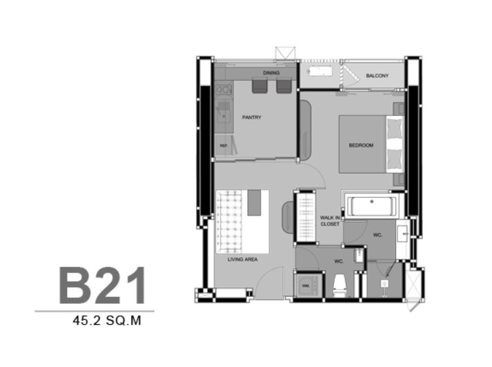 ริทึ่ม สุขุมวิท 44/1 - ให้เช่า คอนโด 1 ห้องนอน ติด BTS พระโขนง   Ref. TH-CBPPWACF