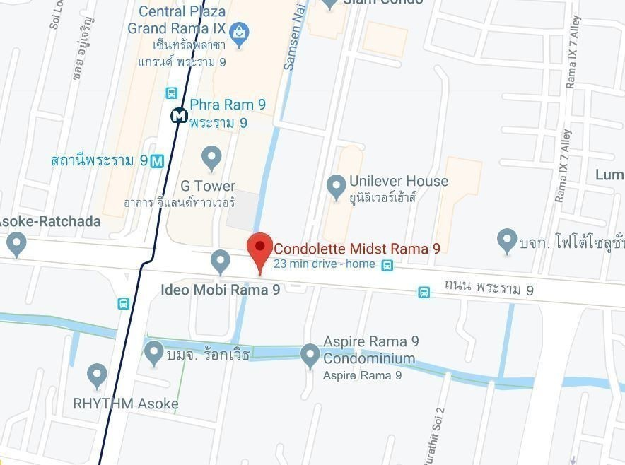 Condolette Midst Rama 9 - For Rent 1 Bed Condo Near MRT Phetchaburi, Bangkok, Thailand   Ref. TH-FPCHCHIA
