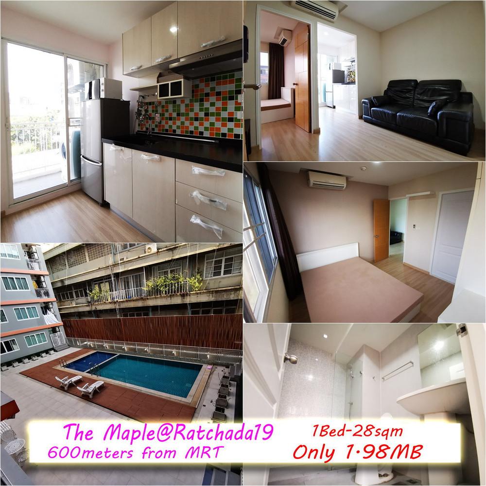 The Maple@Ratchada 19 - For Sale 1 Bed コンド Near MRT Ratchadaphisek, Bangkok, Thailand | Ref. TH-CKFYNPKS
