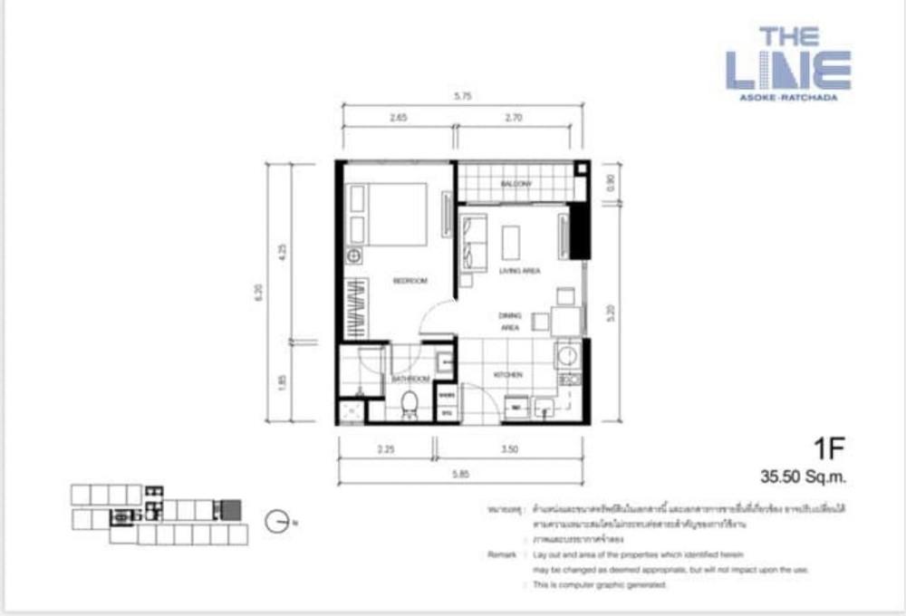 เดอะ ไลน์ อโศก-รัชดา - ขาย คอนโด 1 ห้องนอน ดินแดง กรุงเทพฯ | Ref. TH-TSYJEKQI