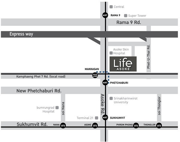 Life Asoke - В аренду: Кондо c 1 спальней возле станции MRT Phetchaburi, Bangkok, Таиланд   Ref. TH-OQXVUXFO
