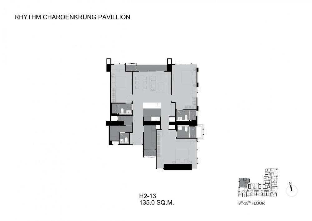 RHYTHM Charoenkrung Pavillion - Продажа: Кондо с 3 спальнями в районе Bang Kho Laem, Bangkok, Таиланд | Ref. TH-RTRIHOWX