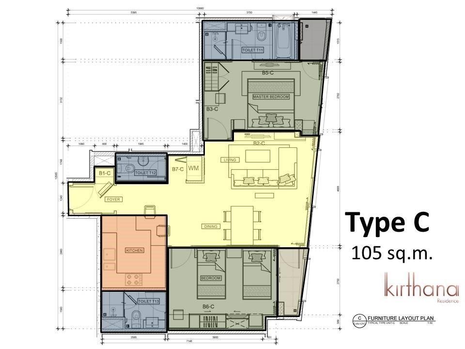 กีรธนา เรสซิเด็นซ์ - ให้เช่า คอนโด 2 ห้องนอน ติด BTS อโศก | Ref. TH-VXPYPXOR