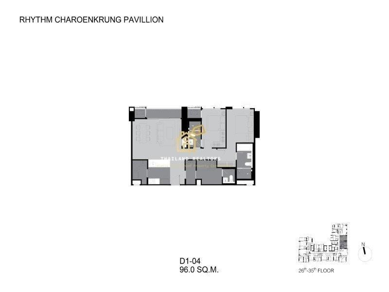 RHYTHM Charoenkrung Pavillion - For Sale 2 Beds コンド in Bang Kho Laem, Bangkok, Thailand   Ref. TH-OQKJQTLV