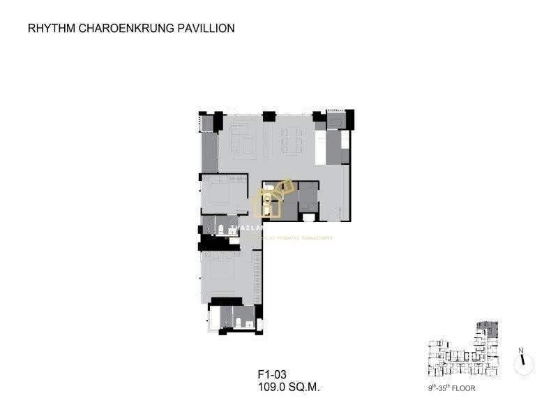 RHYTHM Charoenkrung Pavillion - For Sale 2 Beds コンド in Bang Kho Laem, Bangkok, Thailand   Ref. TH-KZKKQNVB