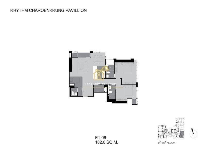 RHYTHM Charoenkrung Pavillion - For Sale 2 Beds コンド in Bang Kho Laem, Bangkok, Thailand | Ref. TH-DGURLNTB