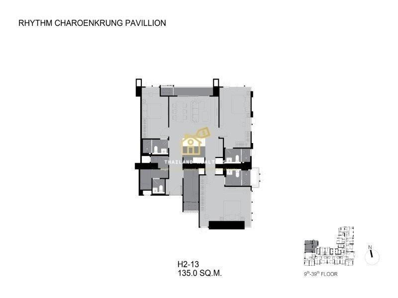 RHYTHM Charoenkrung Pavillion - For Sale 2 Beds コンド in Bang Kho Laem, Bangkok, Thailand | Ref. TH-UKSQXYYQ